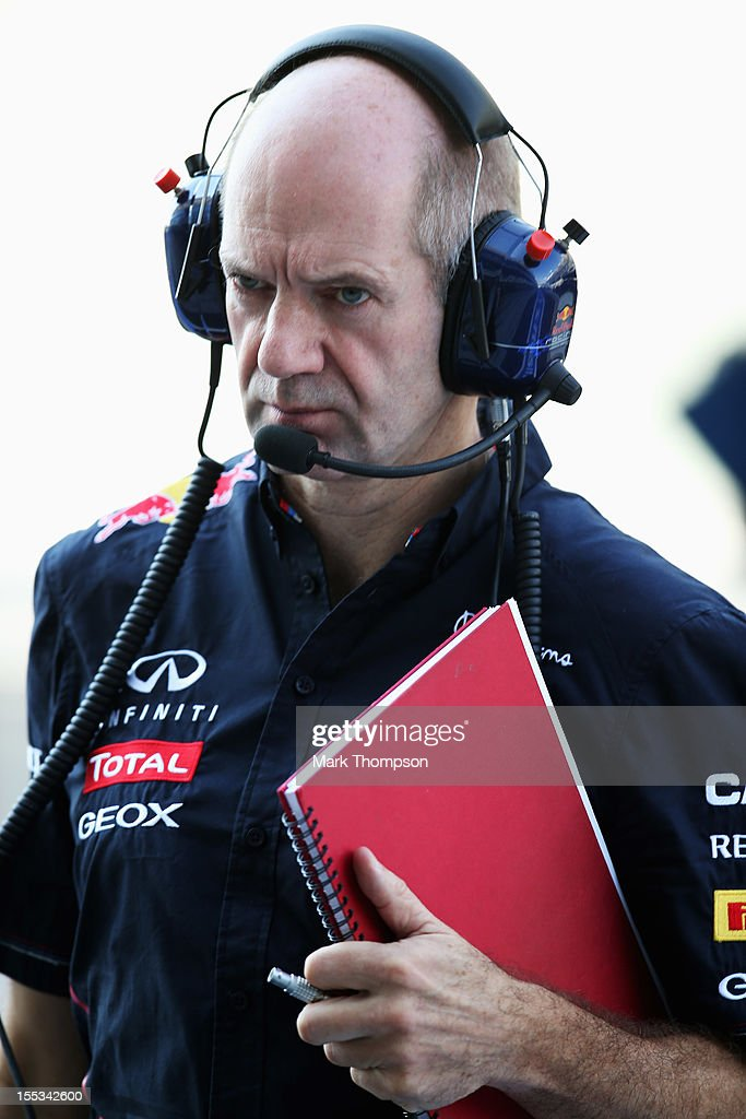 Red Bull Racing Chief Technical Officer Adrian Newey is seen during the final practice session prior to qualifying for the Abu Dhabi Formula One Grand Prix at the Yas Marina Circuit on November 3, 2012 in Abu Dhabi, United Arab Emirates.
