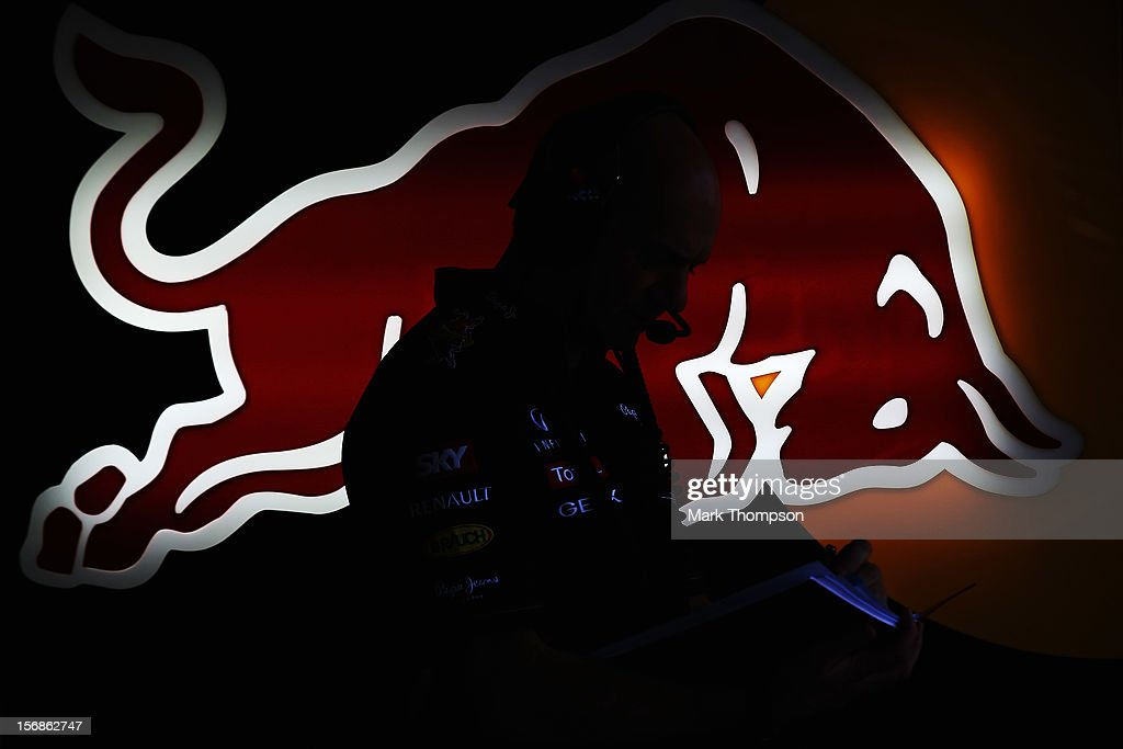 Red Bull Racing Chief Technical Officer Adrian Newey is seen during practice for the Brazilian Formula One Grand Prix at the Autodromo Jose Carlos Pace on November 23, 2012 in Sao Paulo, Brazil.