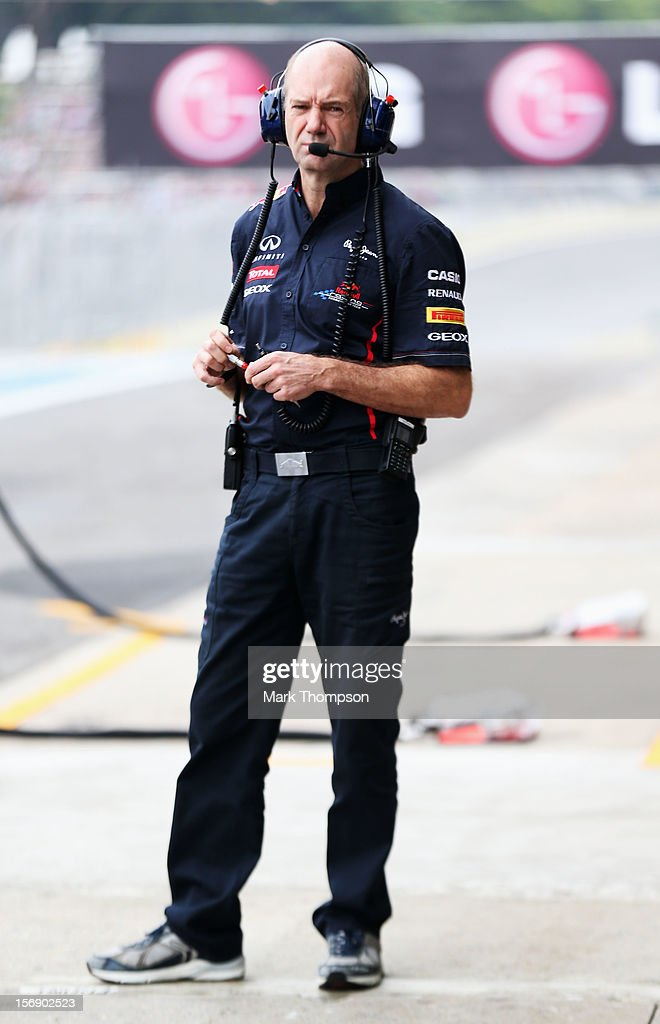 Red Bull Racing Chief Technical Officer Adrian Newey is seen during qualifying for the Brazilian Formula One Grand Prix at the Autodromo Jose Carlos Pace on November 24, 2012 in Sao Paulo, Brazil.