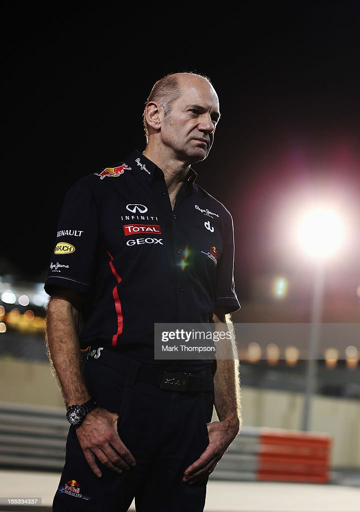 Red Bull Racing Chief Technical Officer Adrian Newey is seen following practice for the Abu Dhabi Formula One Grand Prix at the Yas Marina Circuit on November 2, 2012 in Abu Dhabi, United Arab Emirates.