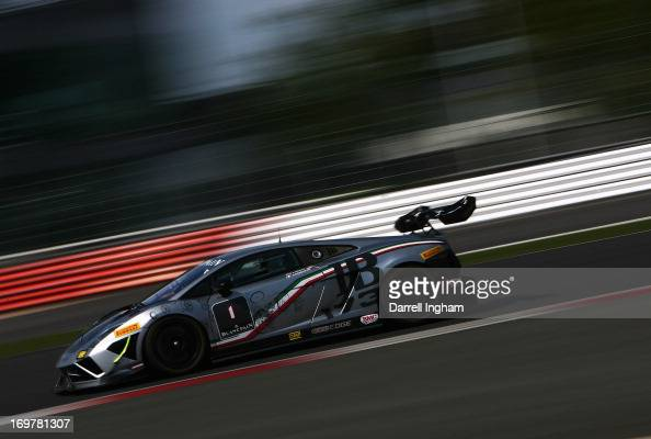 Red Bull Racing designer Adrian Newey drives the Automobili Lamborghini Gallardo LP560 during the Lamborghini Blancpain Super Trofeo race at the...