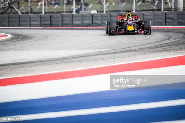Red Bull Racing driver Daniel Ricciardo of Australia races through turn 15 during afternoon practice for the Formula 1 United States Grand Prix on...