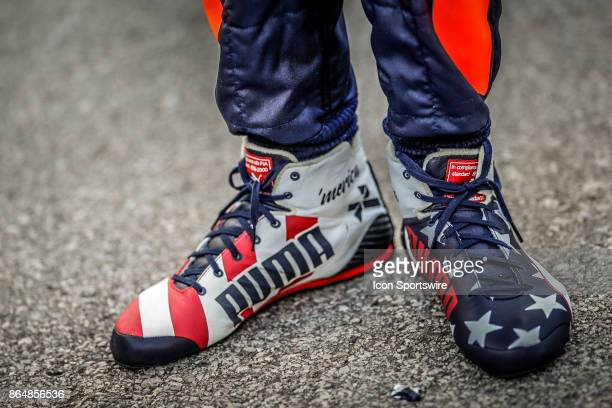 Red Bull Racing driver Daniel Ricciardo's of Australia shoes after qualifying for the Formula 1 United States Grand Prix on October 21 at the Circuit...