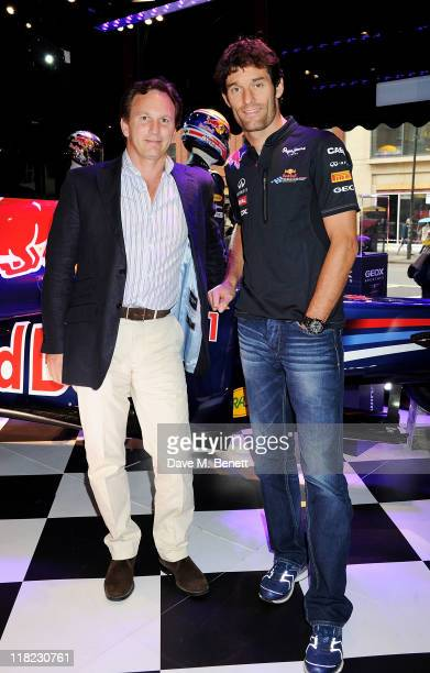 Red Bull Racing F1 Team Principal Christian Horner and Red Bull Racing Driver Mark Webber pose at the launch of the limited edition GeoxRed Bull...