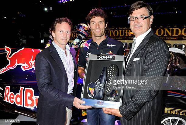 Red Bull Racing F1 Team Principal Christian Horner Red Bull Racing Driver Mark Webber and Founder and Chairman of Geox Mario Moretti Polegato pose at...
