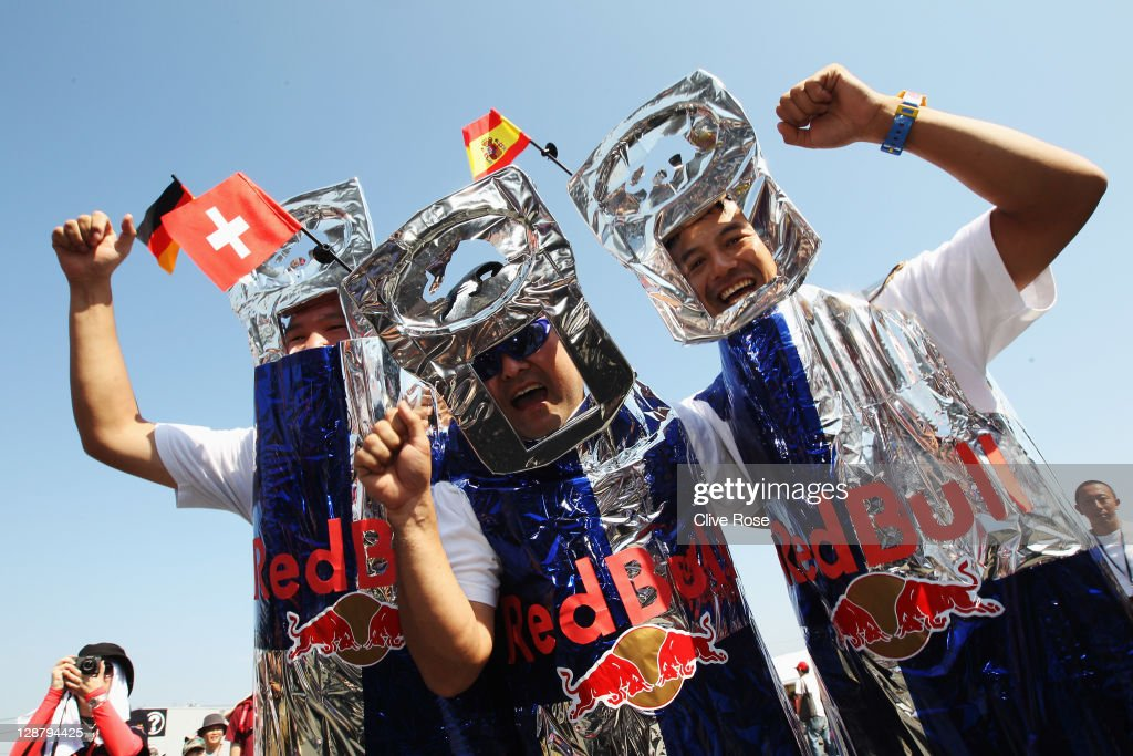 Red Bull Racing fans congregate in the circuit plaza before during the Japanese Formula One Grand Prix at Suzuka Circuit on October 9 2011 in Suzuka...