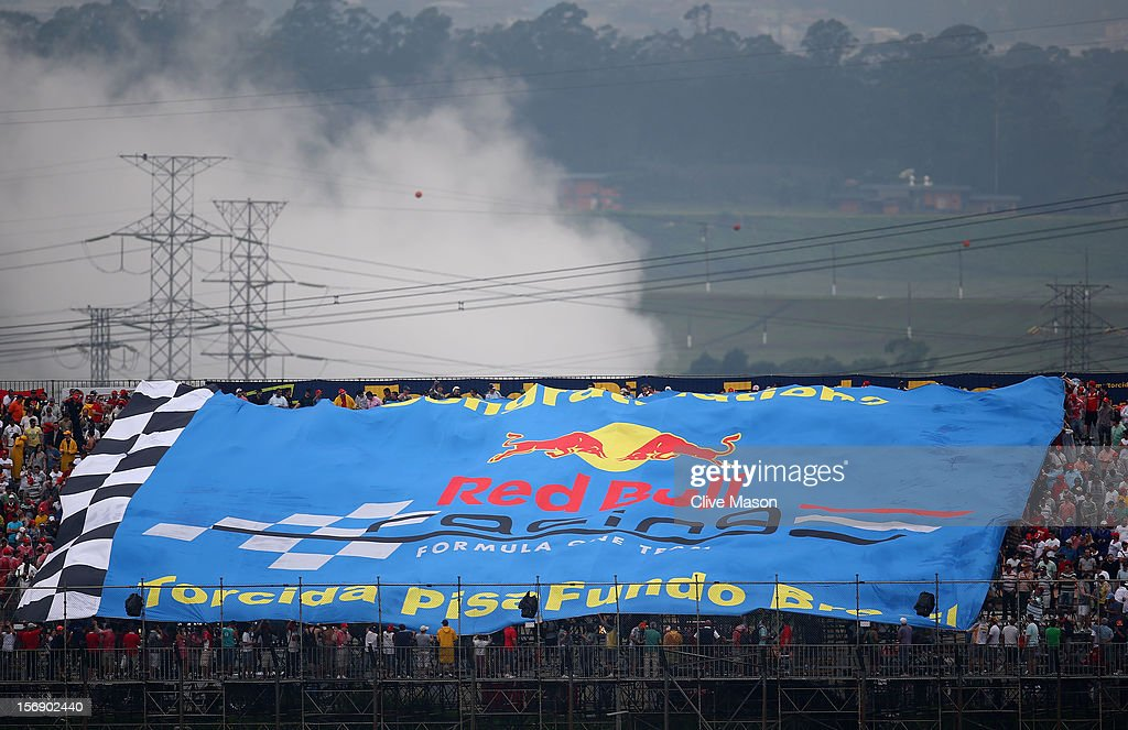 Red Bull Racing flag is unfurled during qualifying for the Brazilian Formula One Grand Prix at the Autodromo Jose Carlos Pace on November 24, 2012 in Sao Paulo, Brazil.