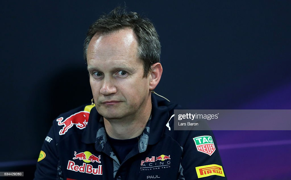 Red Bull Racing Head of Car Engineering <a gi-track='captionPersonalityLinkClicked' href=/galleries/search?phrase=Paul+Monaghan&family=editorial&specificpeople=4583435 ng-click='$event.stopPropagation()'>Paul Monaghan</a> in the Team Representatives Press Conference during practice for the Monaco Formula One Grand Prix at Circuit de Monaco on May 26, 2016 in Monte-Carlo, Monaco.