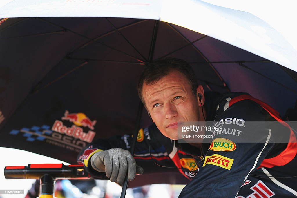 Red Bull Racing mechanic is seen on the grid before the Hungarian Formula One Grand Prix at the Hungaroring on July 29, 2012 in Budapest, Hungary.