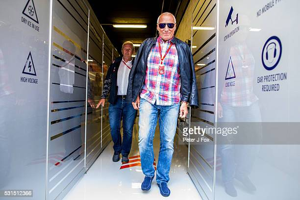 Red Bull Racing Motorsport Consultant Helmut Marko Of Austria with Red Bull Racing CEO Dietrich Mateschitz of Austria during the Spanish Formula One...