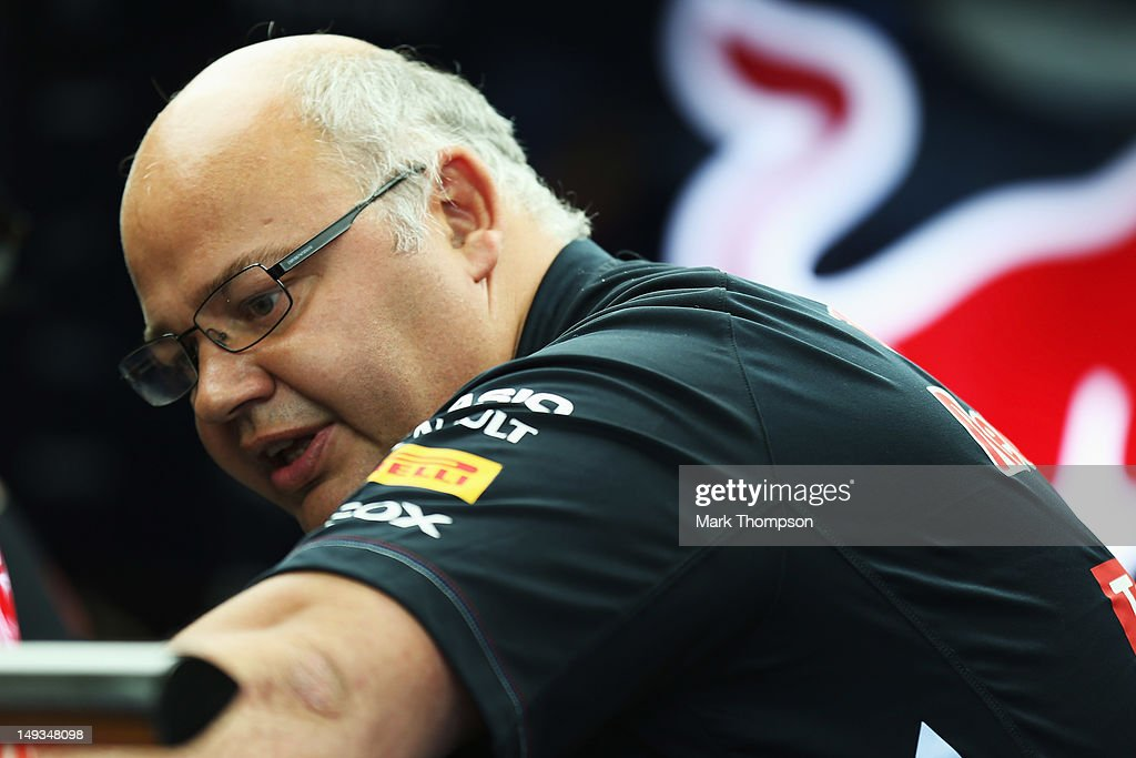 Red Bull Racing Team Chief Designer Rob Marshall is seen in his team garage following practice for the Hungarian Formula One Grand Prix at the Hungaroring on July 27, 2012 in Budapest, Hungary.