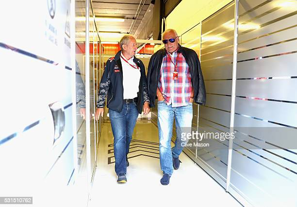 Red Bull Racing Team Consultant Dr Helmut Marko talks to Dietrich Mateschitz Red Bull owner in the Red Bull Racing garage during the Spanish Formula...