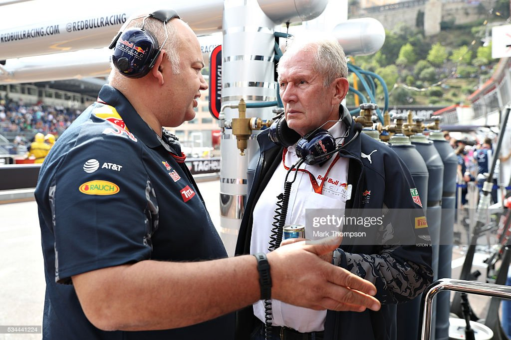 Red Bull Racing Team Consultant Dr Helmut Marko talks with a Red Bull Racing team member in the Pitlane during practice for the Monaco Formula One Grand Prix at Circuit de Monaco on May 26, 2016 in Monte-Carlo, Monaco.