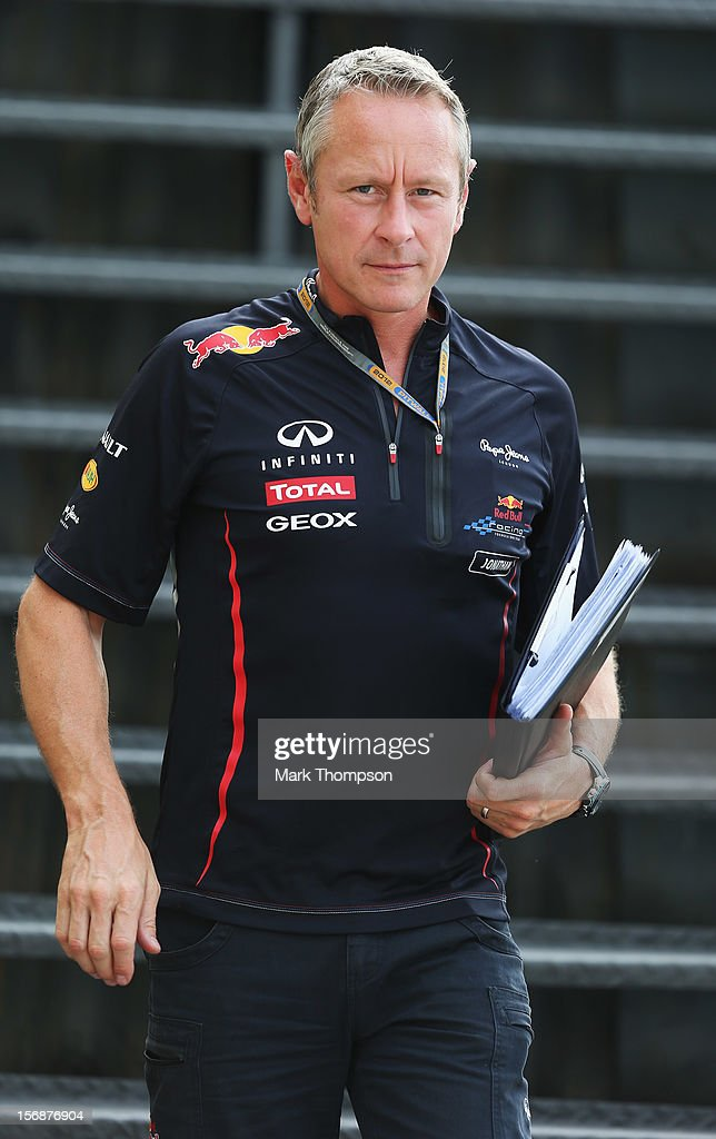 Red Bull Racing Team Manager Jonathan Wheatley walks in the paddock following practice for the Brazilian Formula One Grand Prix at the Autodromo Jose Carlos Pace on November 23, 2012 in Sao Paulo, Brazil.
