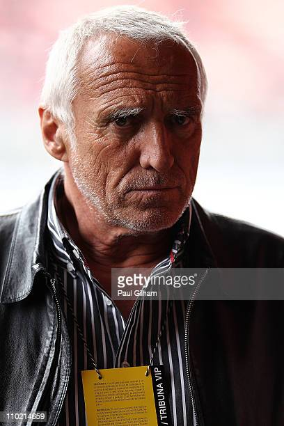 Red Bull Racing team owner Dietrich Mateschitz looks on in the team garage during day four of the final winter testing at the Circuit de Catalunya on...