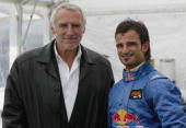 Red Bull Racing team owner Dietrich Mateschitz poses with team manager Tony Purnell during Formula One testing at the Circuit De Catalunya on...
