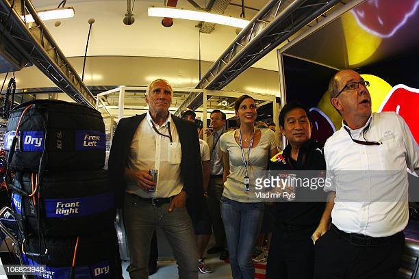 Red Bull Racing team owner Dietrich Mateschitz watches the closing laps in their team garage during the Abu Dhabi Formula One Grand Prix at the Yas...