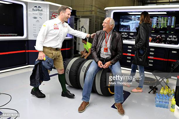 Red Bull Racing Team Principal Christian Horner and Dietrich Mateschitz Red Bull owner in the garage after the Formula One Grand Prix of Austria at...