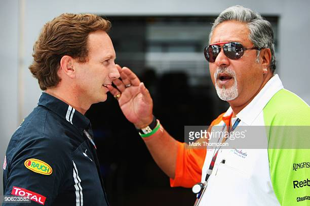 Red Bull Racing Team Principal Christian Horner and Force India Chairman Vijay Mallya talk in the paddock following qualifying for the Italian...
