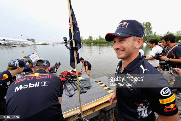 Red Bull Racing Team Principal Christian Horner and the Red Bull Racing at the raft race after qualifying for the Canadian Formula One Grand Prix at...