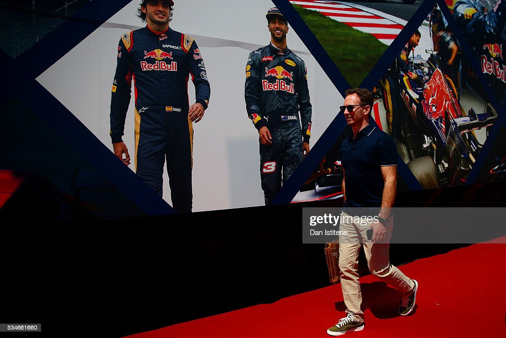 Red Bull Racing Team Principal <a gi-track='captionPersonalityLinkClicked' href=/galleries/search?phrase=Christian+Horner&family=editorial&specificpeople=228706 ng-click='$event.stopPropagation()'>Christian Horner</a> arrives onto the Red Bull Racing Energy Station during previews to the Monaco Formula One Grand Prix at Circuit de Monaco on May 27, 2016 in Monte-Carlo, Monaco.