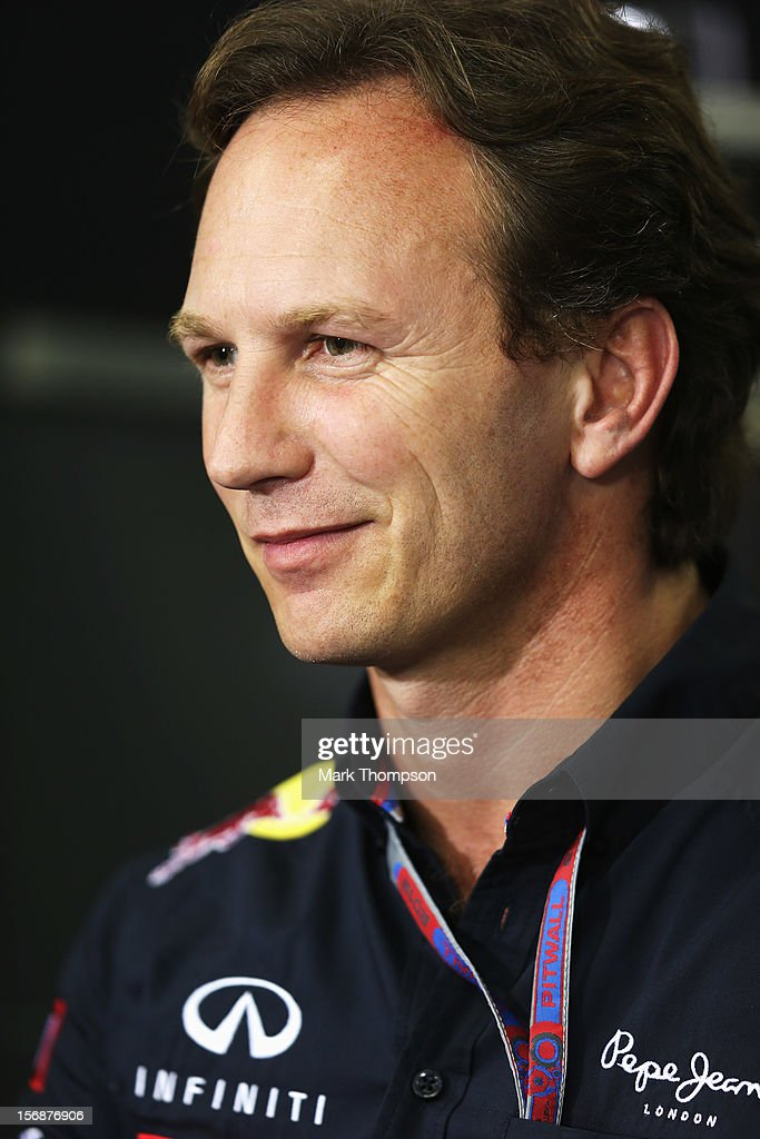 Red Bull Racing Team Principal Christian Horner attends the official press conference following practice for the Brazilian Formula One Grand Prix at the Autodromo Jose Carlos Pace on November 23, 2012 in Sao Paulo, Brazil.