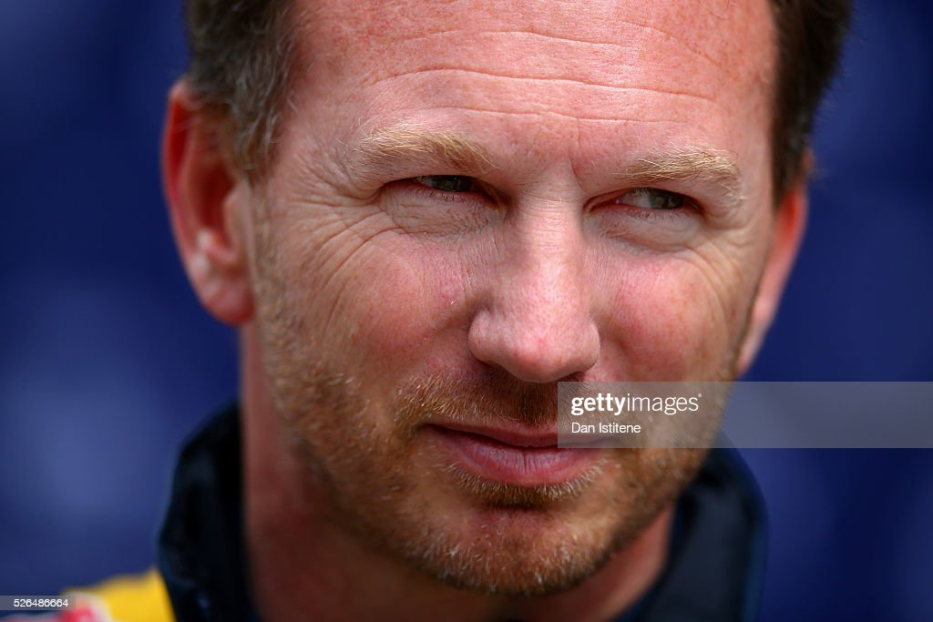 Red Bull Racing Team Principal <a gi-track='captionPersonalityLinkClicked' href=/galleries/search?phrase=Christian+Horner&family=editorial&specificpeople=228706 ng-click='$event.stopPropagation()'>Christian Horner</a> during final practice ahead of the Formula One Grand Prix of Russia at Sochi Autodrom on April 30, 2016 in Sochi, Russia.