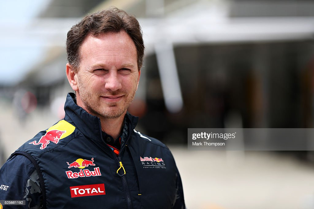 Red Bull Racing Team Principal <a gi-track='captionPersonalityLinkClicked' href=/galleries/search?phrase=Christian+Horner&family=editorial&specificpeople=228706 ng-click='$event.stopPropagation()'>Christian Horner</a> in the Pitlane during practice for the Formula One Grand Prix of Russia at Sochi Autodrom on April 29, 2016 in Sochi, Russia.