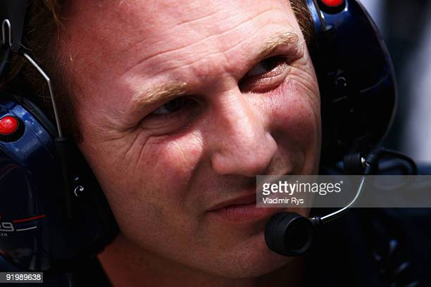 Red Bull Racing Team Principal Christian Horner is seen during the Brazilian Formula One Grand Prix at Interlagos Circuit on October 18 2009 in Sao...