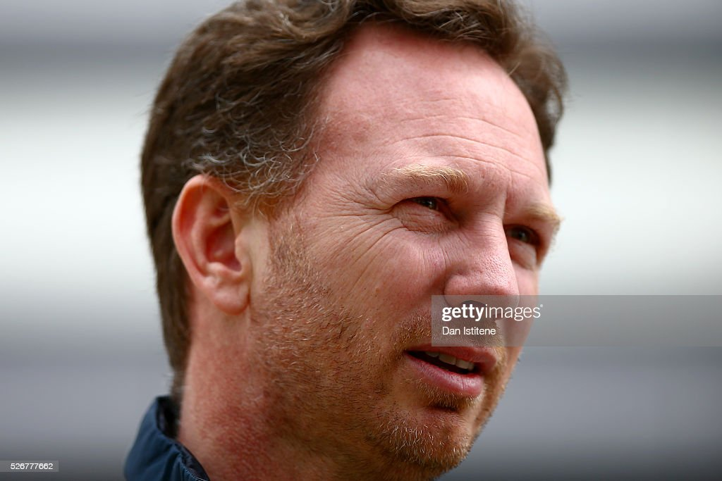 Red Bull Racing Team Principal Christian Horner looks on in the paddock before the Formula One Grand Prix of Russia at Sochi Autodrom on May 1, 2016 in Sochi, Russia.
