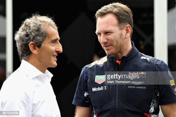 Red Bull Racing Team Principal Christian Horner talks with Alain Prost Special Advisor to Renault Sport F1 in the Paddock during practice for the...