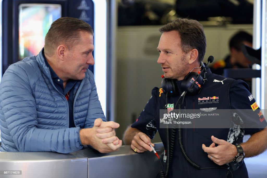 Red Bull Racing Team Principal Christian Horner talks with Jos Verstappen in the Red Bull Racing garage during practice for the Formula One Grand Prix of Mexico at Autodromo Hermanos Rodriguez on October 27, 2017 in Mexico City, Mexico.