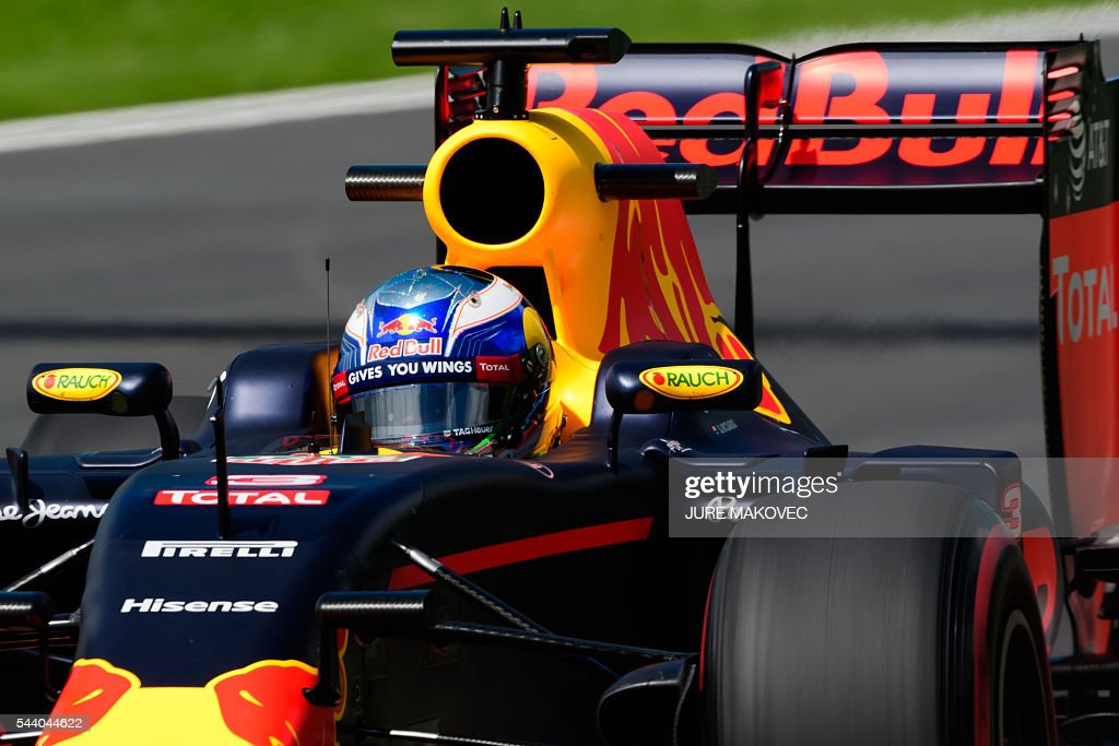 Red Bull Racing's Australian driver Daniel Ricciardo drives his car during the first practice session of the Formula One Grand Prix of Austria at the Red Bull Ring in Spielberg, Austria on July 1, 2016. / AFP / JURE