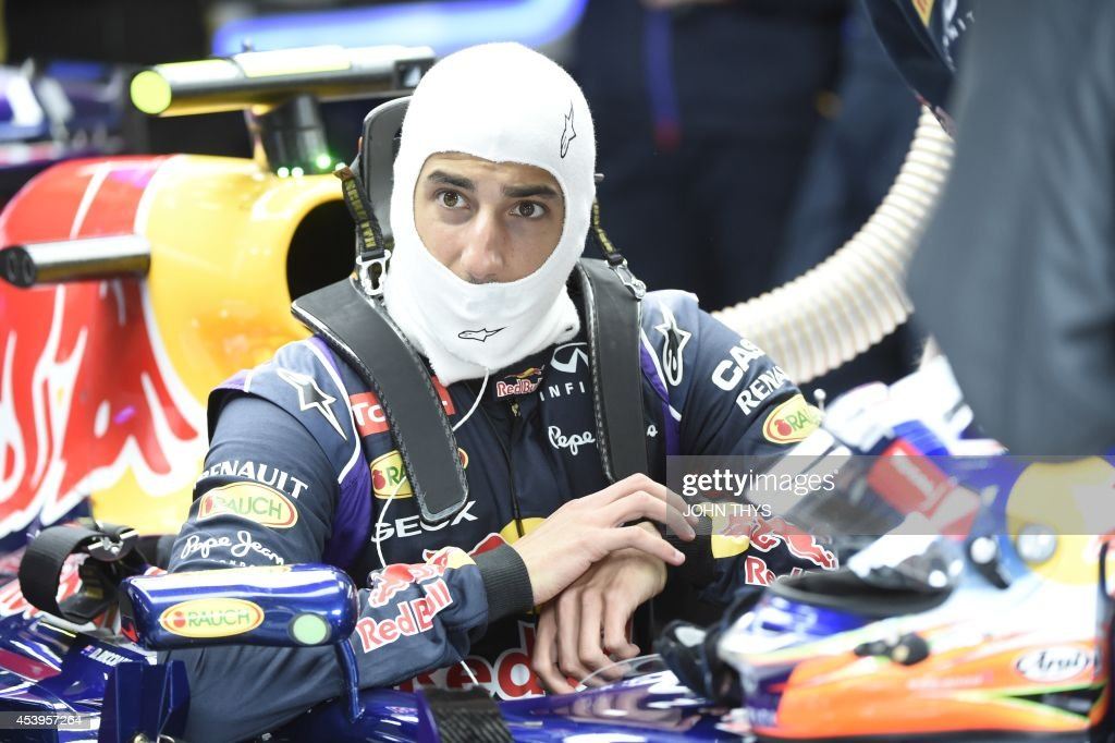 Red Bull Racing's Australian driver Daniel Ricciardo sits in the pits during the second practice session at the Spa-Francorchamps circuit in Spa on August 22, 2014 ahead of the Belgium Formula One Grand Prix.