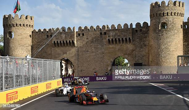 Red Bull Racing's BelgianDutch driver Max Verstappen steers his car at the Baku City Circuit on June 19 2016 in Baku during the European Formula One...