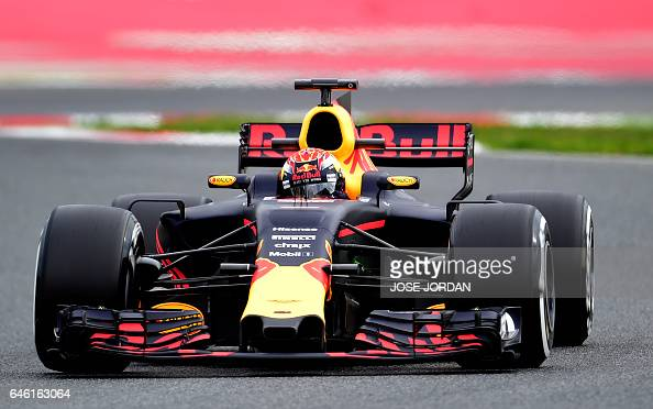 Red Bull Racing's Dutch driver Max Verstappen drives at the Circuit de Catalunya on February 28 2017 in Montmelo on the outskirts of Barcelona during...