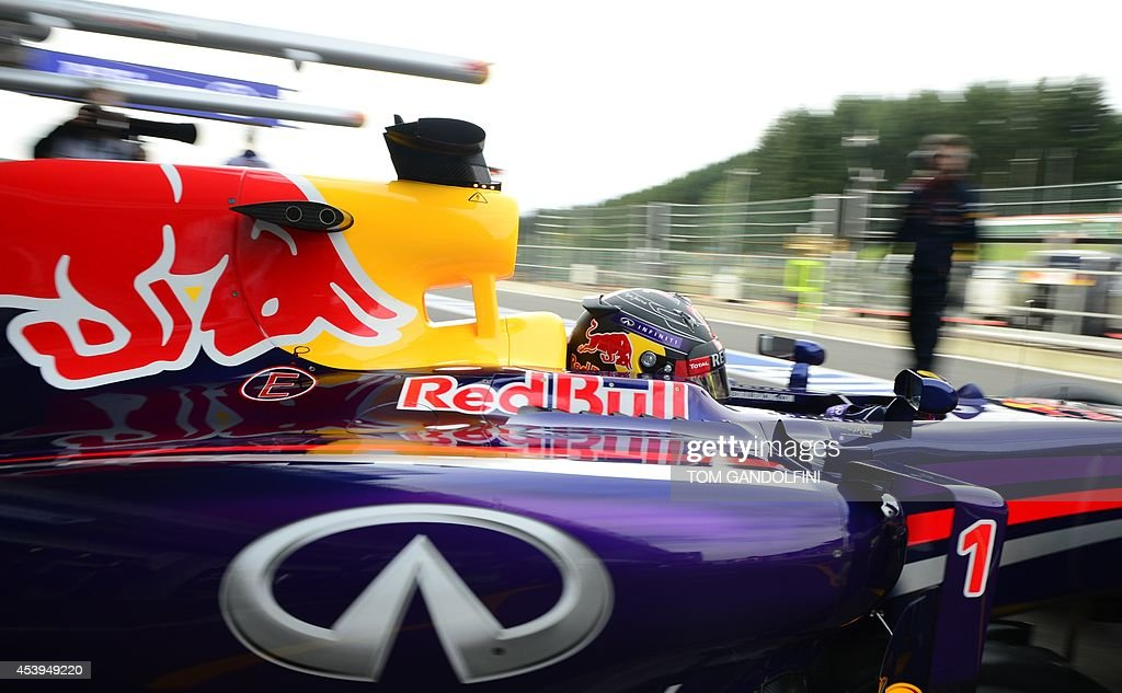 Red Bull Racing's German driver Sebastian Vettel leaves the pits during the first practice session at the Spa-Francorchamps circuit in Spa on August 22, 2014 ahead of the Belgium Formula One Grand Prix.