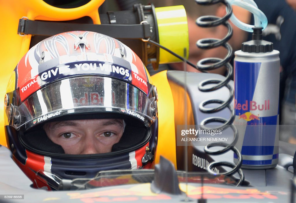 Red Bull Racing's Russian driver Daniil Kvyat sits in his car during the first practice session of the Formula One Russian Grand Prix at the Sochi Autodrom circuit on April 29, 2016. / AFP / ALEXANDER