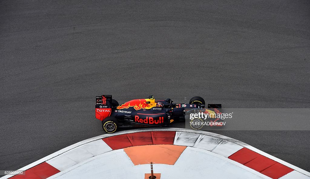 Red Bull Racing's Russian driver Daniil Kvyat steers his car during the first practice session of the Formula One Russian Grand Prix at the Sochi Autodrom circuit on April 29, 2016. / AFP / YURI