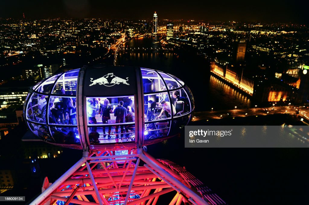 Red Bull Revolutions in Sound guests on the EDF Energy London Eye, celebrating UK club culture as 30 of the most legendary clubs night play in 30 capsules and streamed live on www.revolutionsinsound.com on November 14, 2013 in London, England.