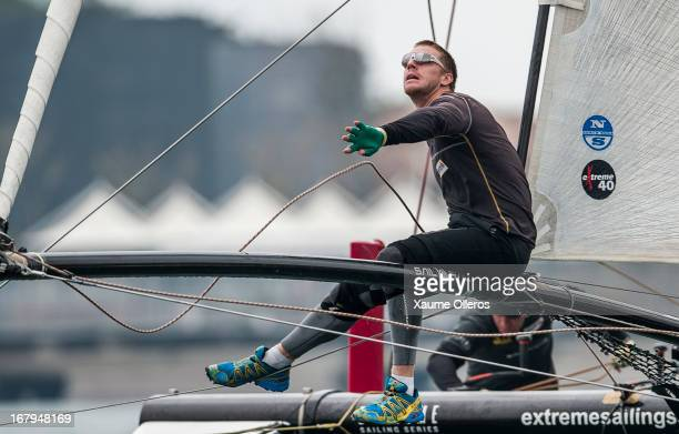 Red Bull Sailing Team Graeme Spence of New Zealand in action during day two of the Extreme Sailing Series on May 3 2013 in Qingdao China
