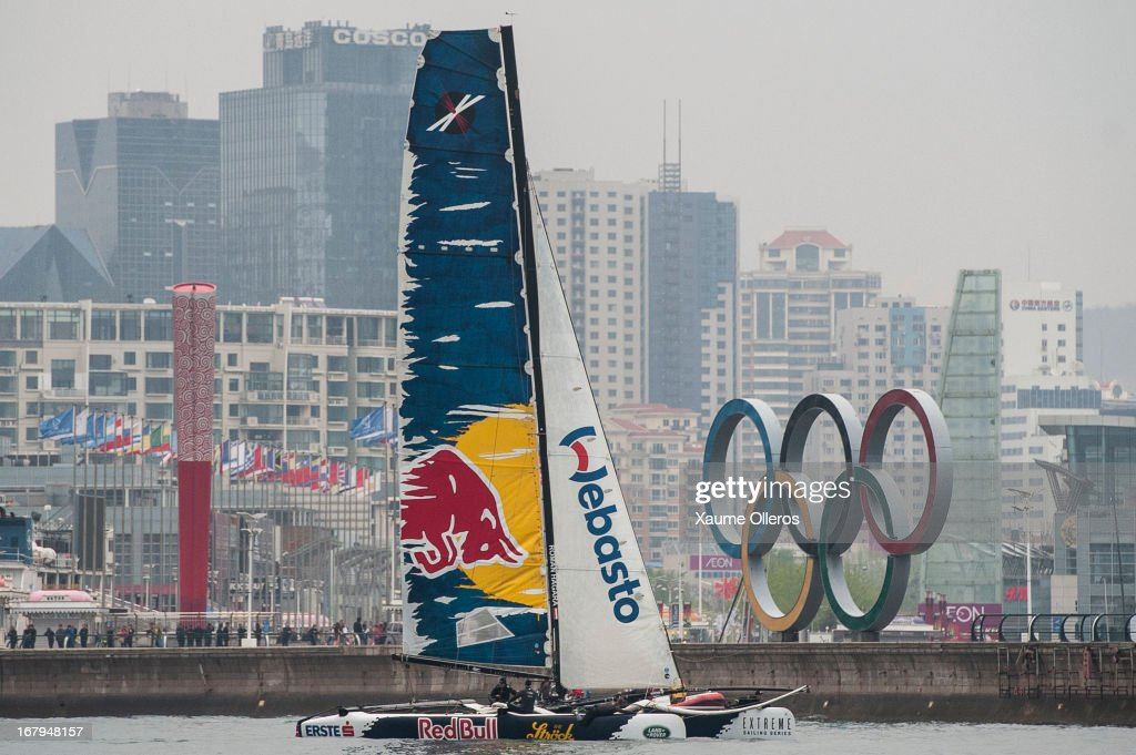 Red Bull Sailing Team in action during day two of the Extreme Sailing Series on May 3, 2013 in Qingdao, China.