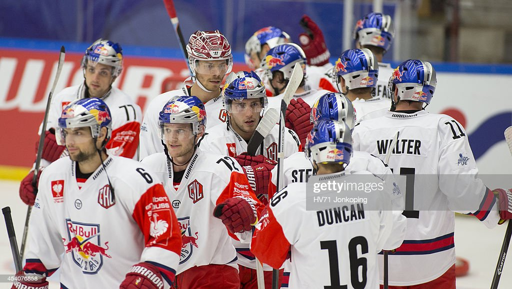 Red Bull Salzburg players celebrate after winning 5-3 during the Champions Hockey League group stage game between HV71 Jonkoping and Red Bull Salzburg on August 24, 2014 in Jonkoping, Sweden.