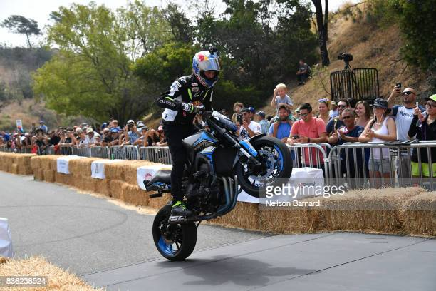 Red Bull street freestyle motorsport athlete Aaron Colton participates in the Red Bull Soapbox Race 2017 at Elysian Park on August 20 2017 in Los...