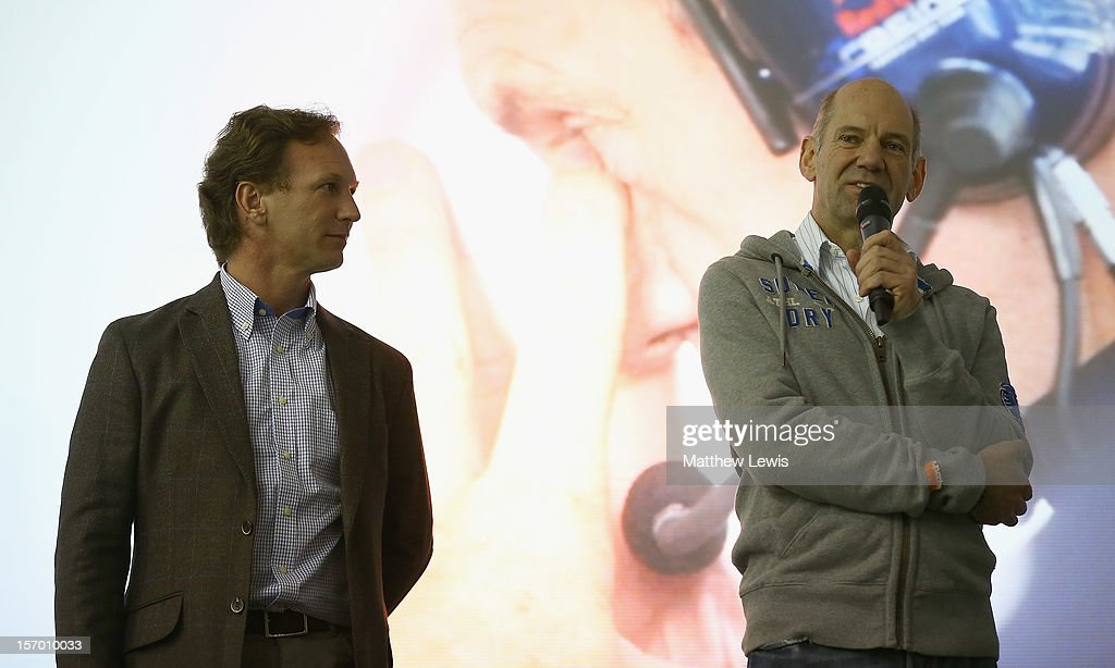 Red Bull team principal, <a gi-track='captionPersonalityLinkClicked' href=/galleries/search?phrase=Christian+Horner&family=editorial&specificpeople=228706 ng-click='$event.stopPropagation()'>Christian Horner</a> and Red Bull Racing chief technical officer, Adrian Newey the factory workers at the Red Bull Racing Factory on November 27, 2012 in Milton Keynes, England.