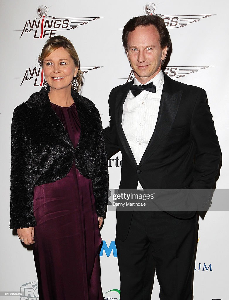 Red Bull team principal Christian Horner (R) and wife Beverly Allen attend a dinner and ball hosted by The Cord Club in aid of Wings For Life at One Marylebone on February 28, 2013 in London, England.