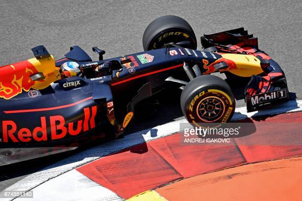 Red Bull's Australian driver Daniel Ricciardo steers his car during the first practice session of the Formula One Russian Grand Prix at the Sochi...