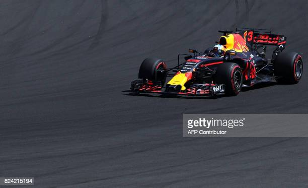 Red Bull's Australian driver Daniel Ricciardo takes part in the qualifying at the Hungaroring racing circuit in Budapest on July 29 2017 prior to the...