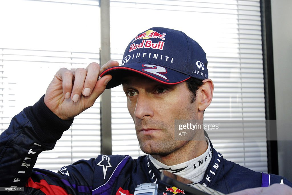 Red Bull's Australian driver Mark Webber gives a press conference during the second day of testing at Jerez racetrack, on February 6, 2013 in Jerez de la Frontera.