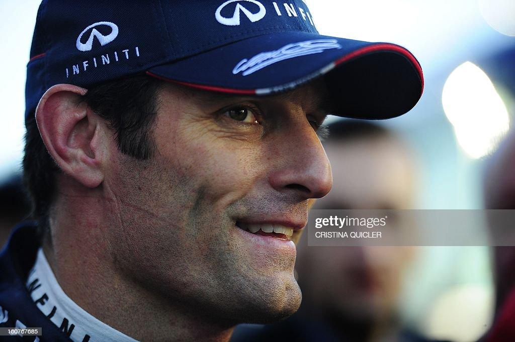 Red Bull's Australian driver Mark Webber speaks to the media at the Jerez racetrack on February 5, 2013, in Jerez de la Frontera.
